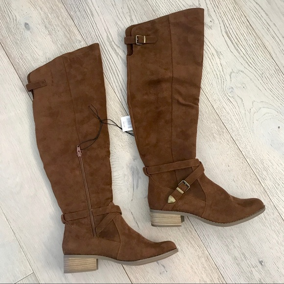 89a931313 Merona Shoes | Tarin Knee Brown Cognac Suede Boots | Poshmark